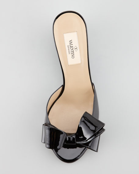 Couture Patent Bow Wedge Slide