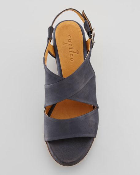 Melania Platform Wedge Sandal, Navy