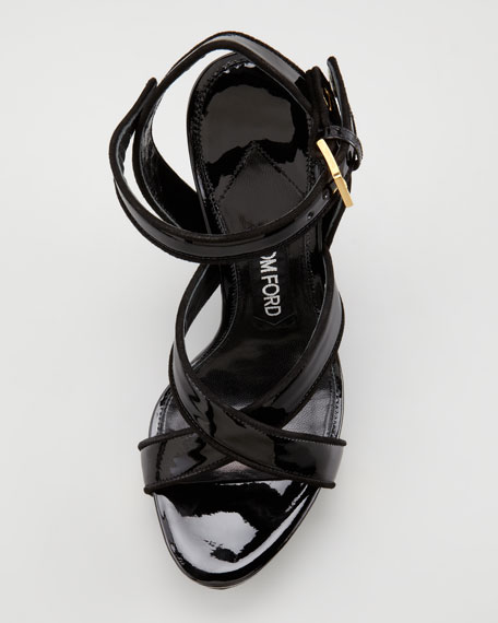 Patent Leather and Lacquered Wedge Sandal