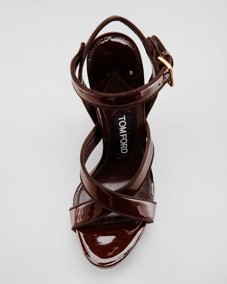 Lacquered Crisscross Wedge Sandal
