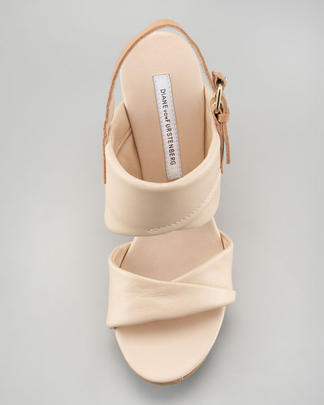 Ophelia Leather Wedge Sandal, Nude