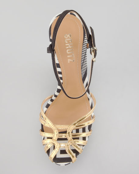 Gil Strappy Wedge Sandal, Gold