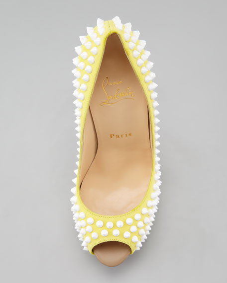 Lady Peep Spike Red Sole Pump, Canary