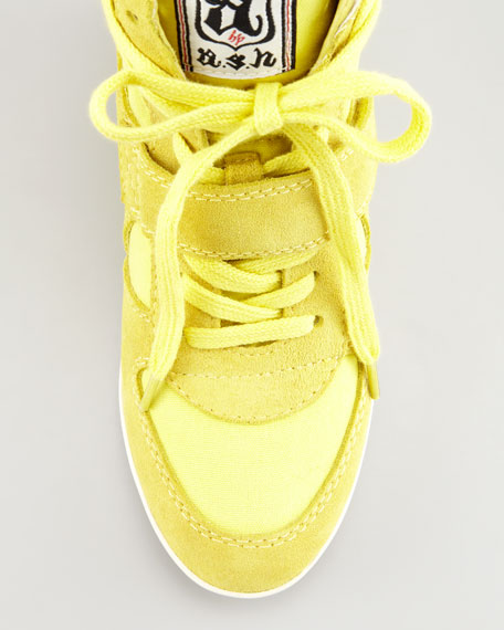 Bowie Suede & Canvas Wedge Sneaker, Yellow