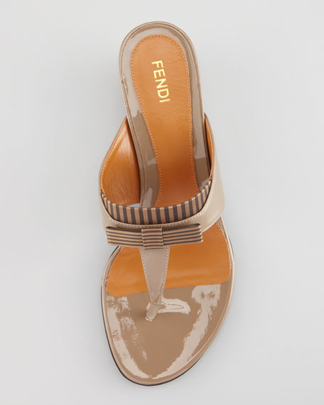 Striped Fabric-Patent Wedge Thong Sandal, Taupe