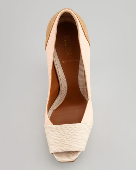 Fendista Colorblock Pump, Nude/Blush/Tan