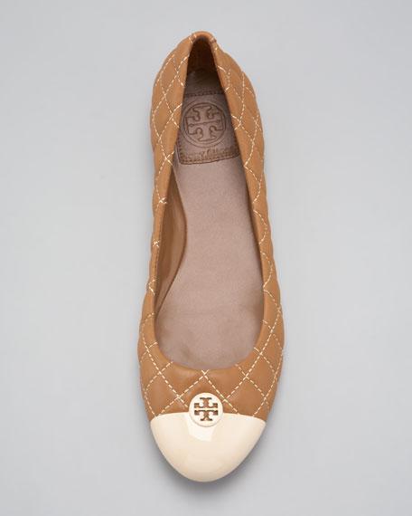 Kaitlin Quilted Ballerina Flat, Cream