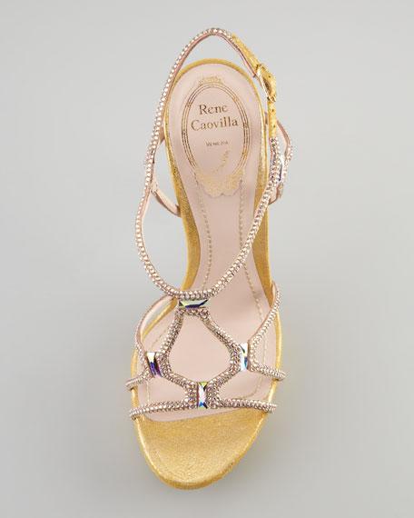 Platform Crystal Sandal, Gold