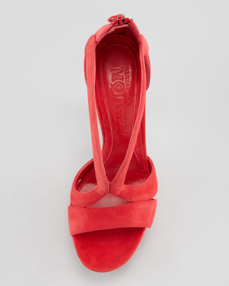 Double-Arched Suede Sandal, Red