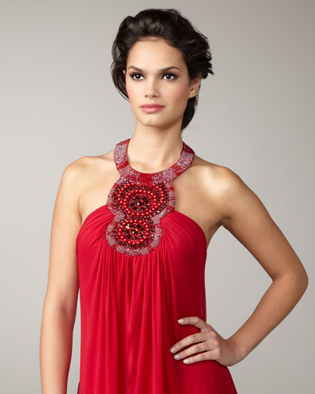 Beaded-Halter Flowy Gown