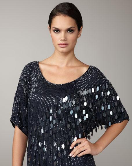 Mixed-Sequin Shift Dress