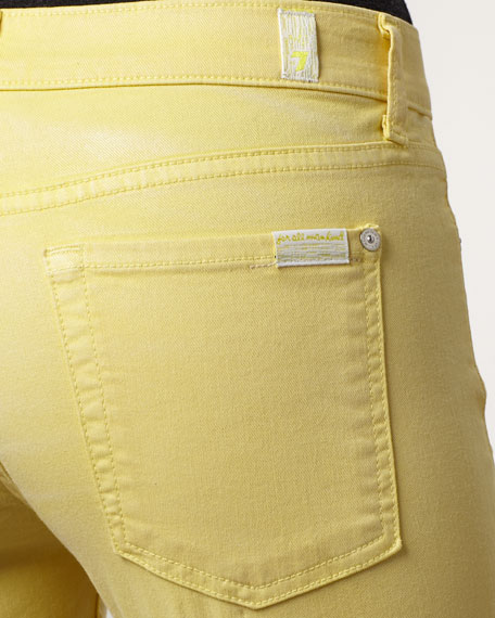 Skinny Bright Yellow Shimmer Cropped Jeans