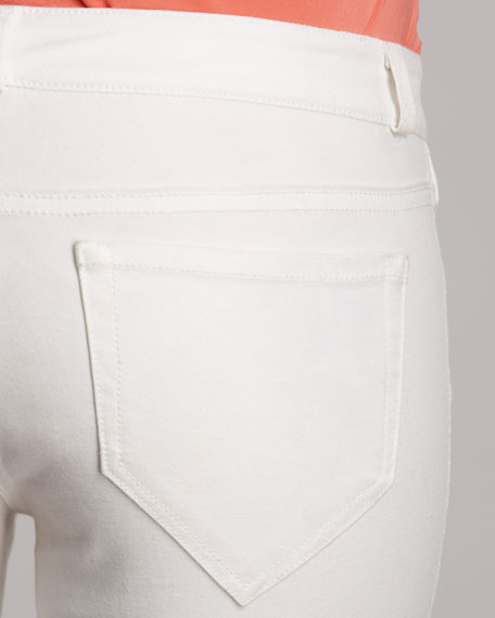 Cropped Twill Pants, White