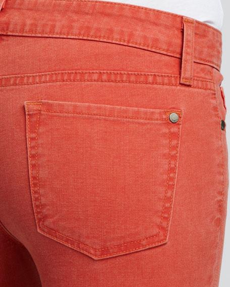 Cropped Denim Pants, Tomato