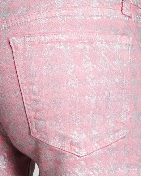 Metallic Houndstooth Denim Shorts