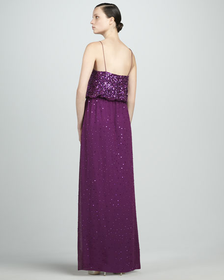 Sequined Blouson Gown