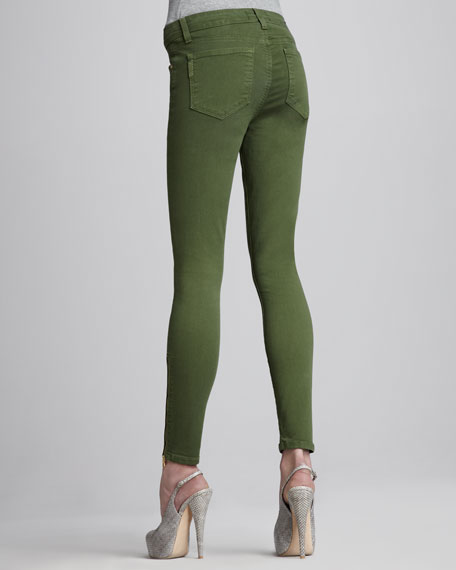 Hoxton Skinny Zipper-Cuff Jeans, Forest