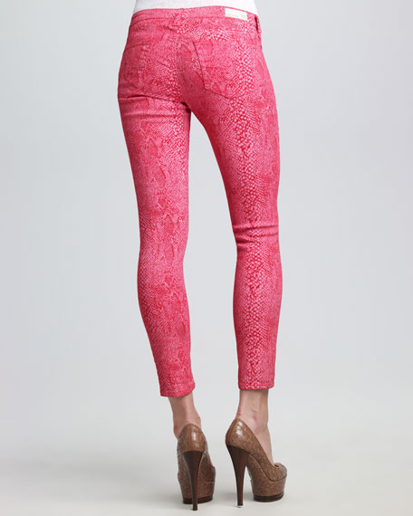 The Legging Raspberry Snake-Print Jeans