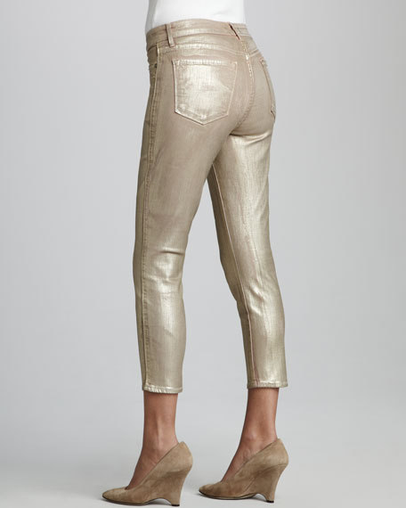Believe Cropped Leggings, Gold Dust
