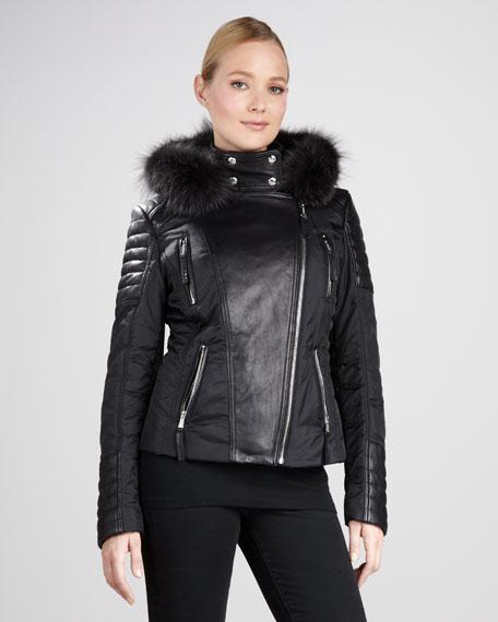 Fur-Trim Leather Moto Jacket