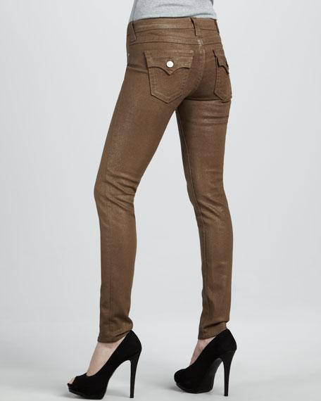 Serena Beige Glitter Skinny Jeans
