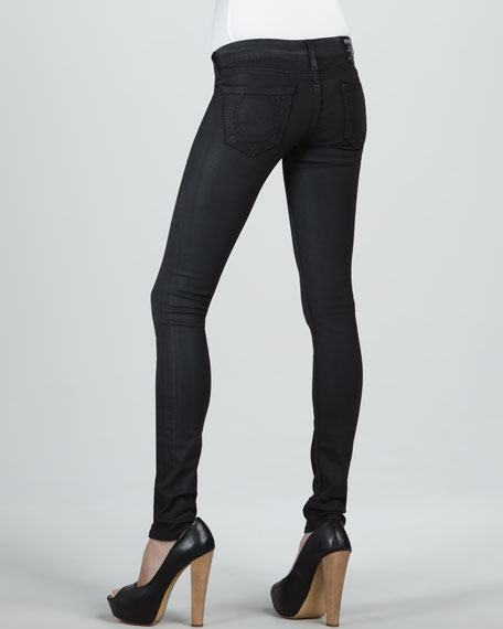 Halle Black Clear Coat High-Rise Skinny Jeans