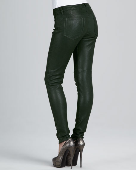 Forest Green Leather Skinny Jeans