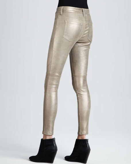 Leather Skinny Ankle Jeans