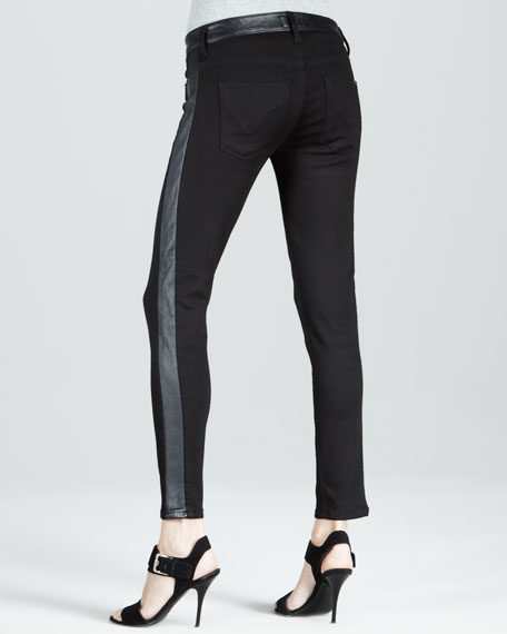 Leelou Black Leather Colorblock Cropped Jeans
