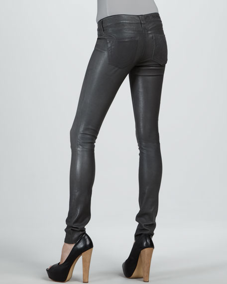 Casey Dark Storm Stretch Leather Jeans