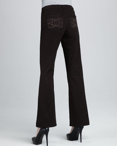 Nailhead Boot-Cut Jeans, Chocolate