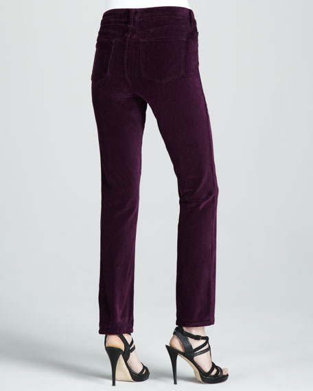 Sheri Velvet Skinny Pants, Dark Colors, Petite