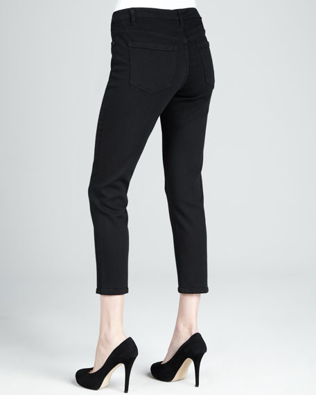 Abby-Skinny Cupro Luxe Cropped Jeans, Black