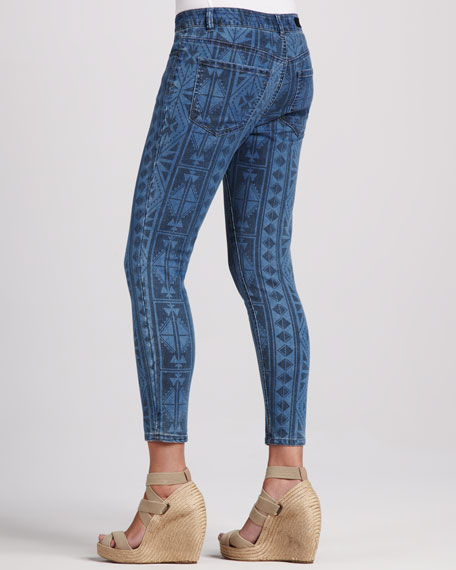 Abby-Skinny Aztec-Print Cropped Jeans