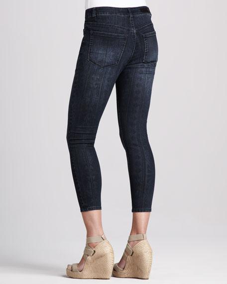 Abby-Skinny Aztec-Print Cropped Jeans, Dark Stone