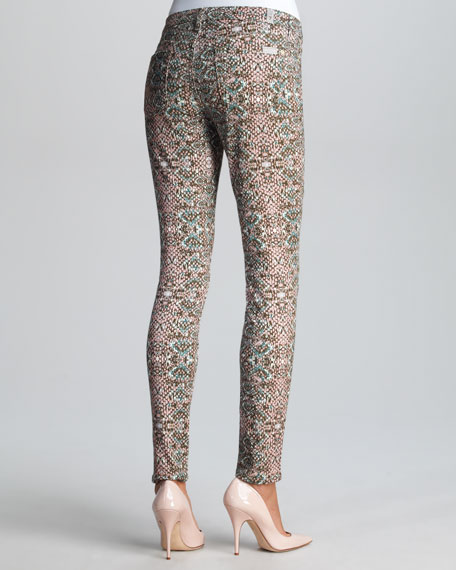 Mosaic-Print Skinny Jeans