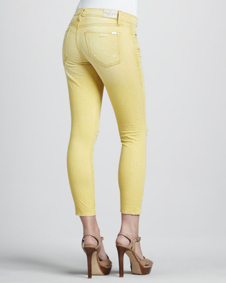 Fisk Destroyed Cropped Jeans, Yellow