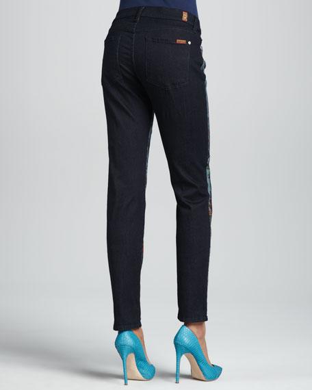 Tropical-Print Slim Cigarette Jeans