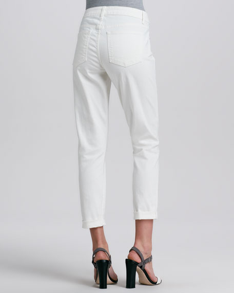 Relaxed Whitewash Ankle Cropped Jeans