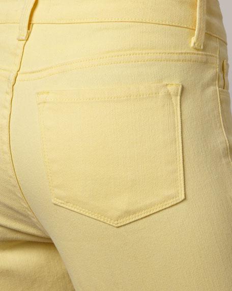 Carmen Button-Cuff Cropped Jeans, Petite