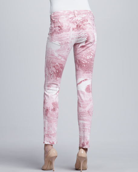Skinny Ankle Peg Jeans, Pink Marble