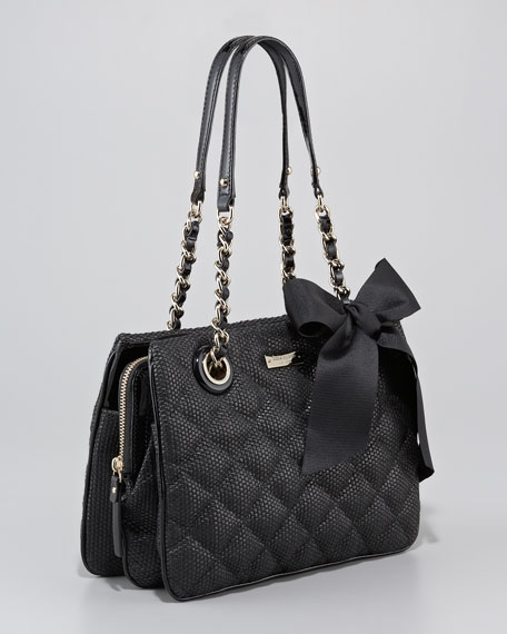 darcy quilted straw handbag