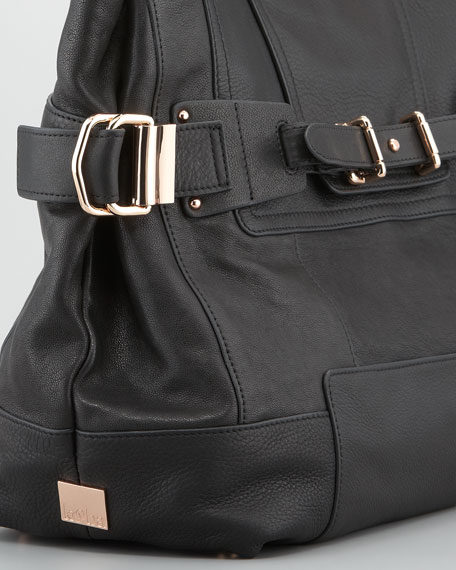 Cally Leather Satchel Bag, Black