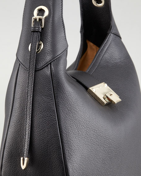 Pebbled Leather Relaxed Hobo Bag