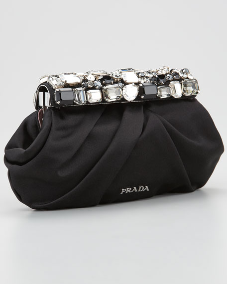 Jeweled Satin Clutch Bag