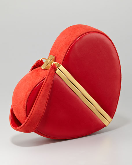 Crystal Heart Box Clutch Bag