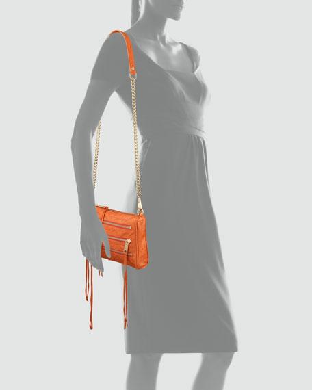 Zip-Front Leather Crossbody Bag, Orange