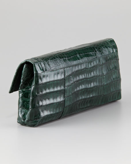 Studded Crocodile Clutch Bag