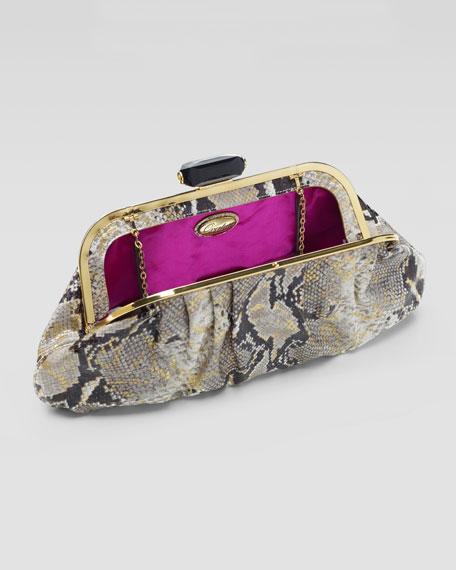 Devin Snake-Print Clutch Bag