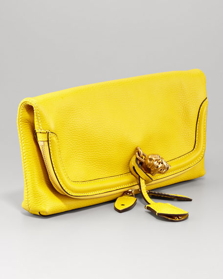 Skull Padlock Fold-Over Clutch Bag, Yellow